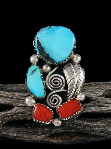 Turquoise and Coral Ring, Size 8