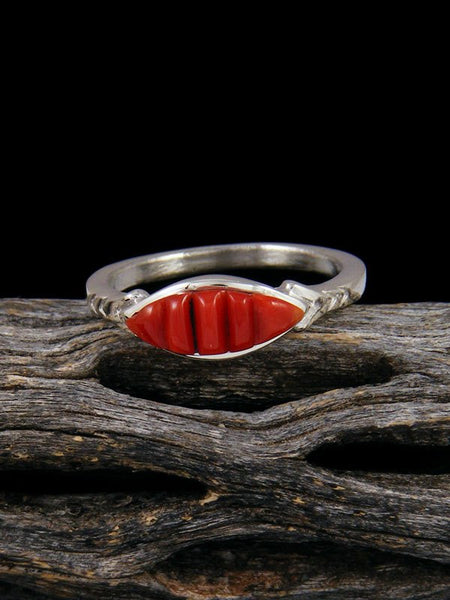 Coral Inlay Ring, Size 8