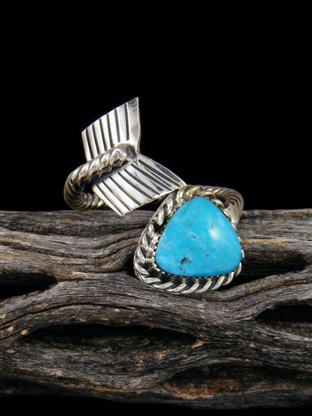Native American Adjustable Turquoise Arrow Ring, Size 8+