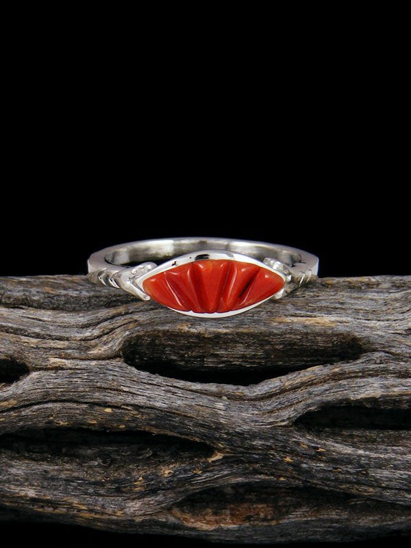 Coral Inlay Ring, Size 9