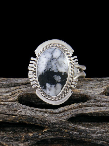 Native American White Buffalo Ring, Size 7 3/4