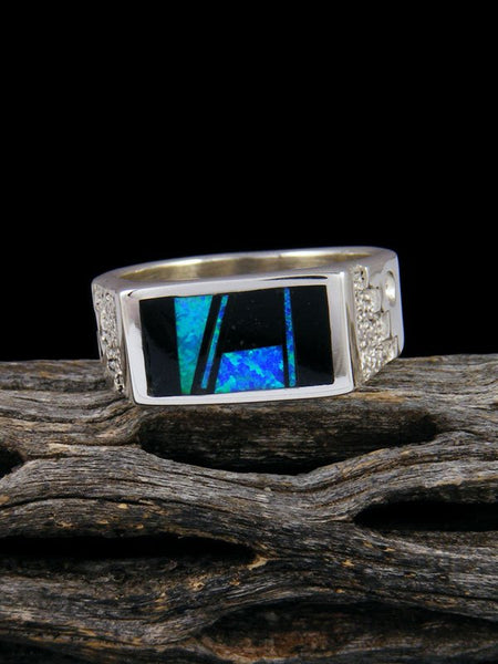 Black Onyx and Opal Ring, Size 10