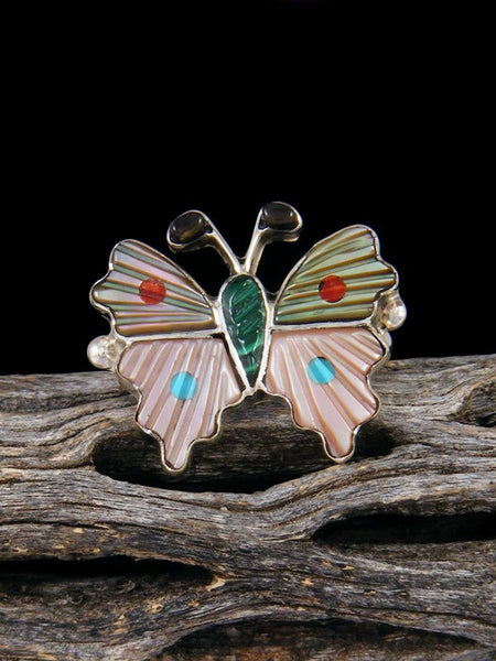 Butterfly Zuni Inlay Ring Size 8 3/4
