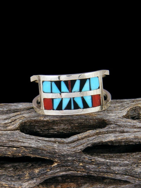 Native American Sterling Silver Zuni Inlay Ring, Size 8 1/4