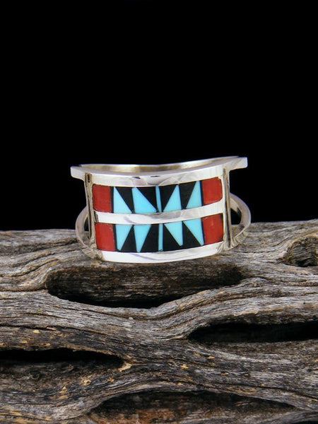 Native American Sterling Silver Zuni Inlay Ring, Size 8