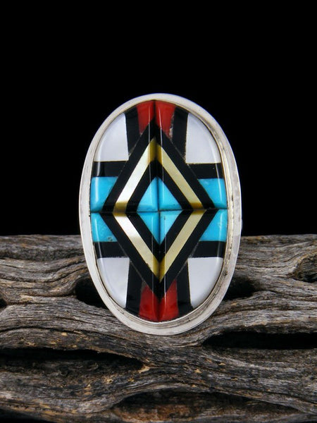 Native American Zuni Inlay Coral and Turquoise Ring, Multiple Sizes