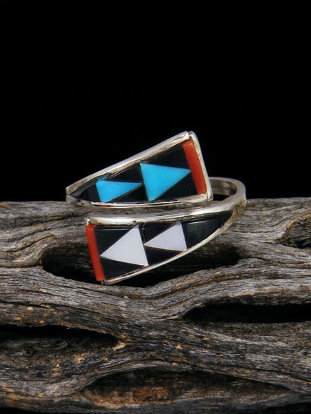 Native American Sterling Silver Zuni Inlay Adjustable Ring, Size 8+