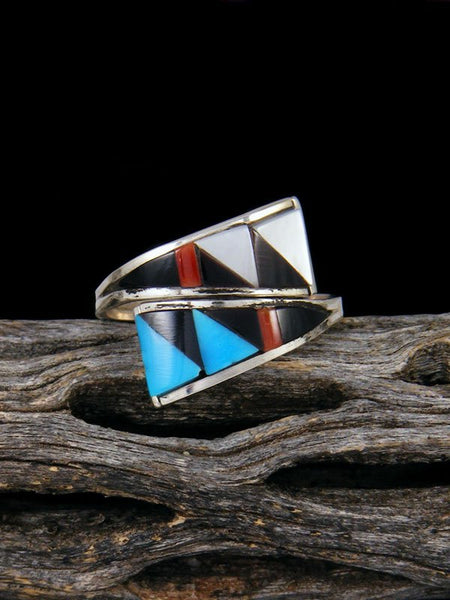 Native American Sterling Silver Zuni Inlay Adjustable Ring, Size 7+