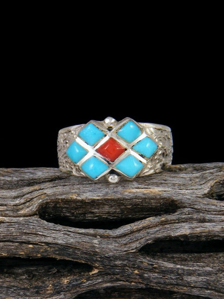 Turquoise and Coral Zuni Inlay Ring Size 6 1/2