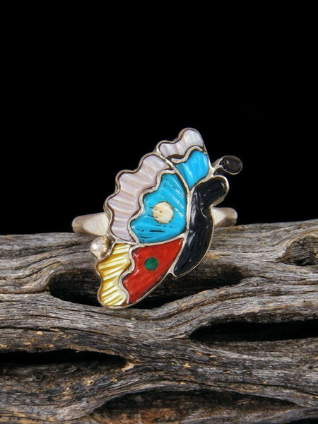 Butterfly Zuni Inlay Ring Size 6 3/4