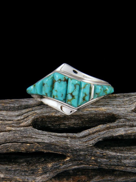 #8 Turquoise Cobblestone Inlay Ring, Size 9