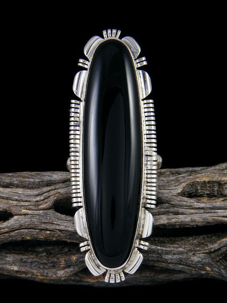 Black Onyx Sterling Silver Ring, Size 9