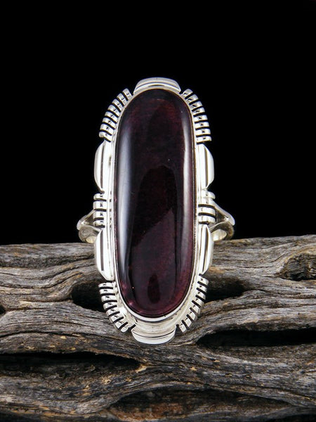 Deep Purple Spiny Oyster Sterling Silver Ring, Size 9