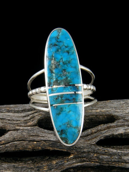 Navajo Turquoise Inlay Sterling Silver Ring, Size 7.5