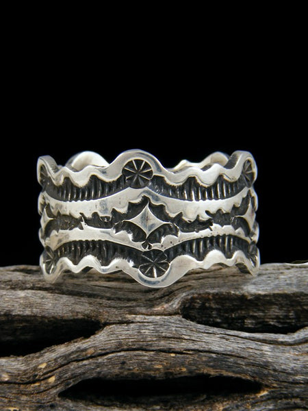Stamped Silver Ring, Size 14