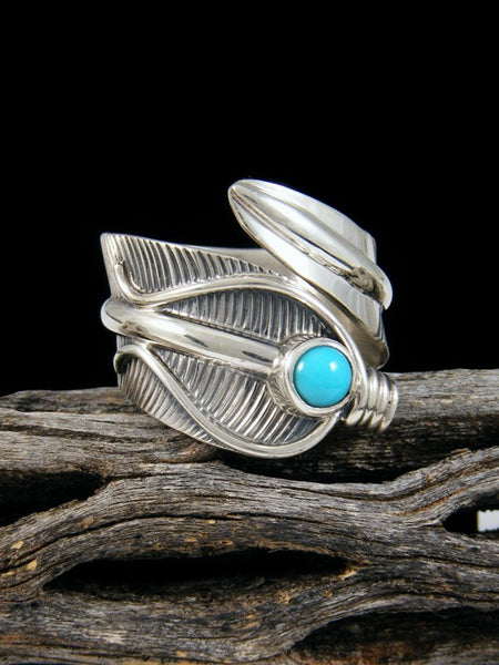 Turquoise Feather Ring, Size 9