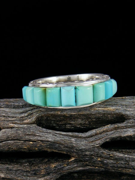 Turquoise Cobblestone Inlay Ring, Size 7 1/4