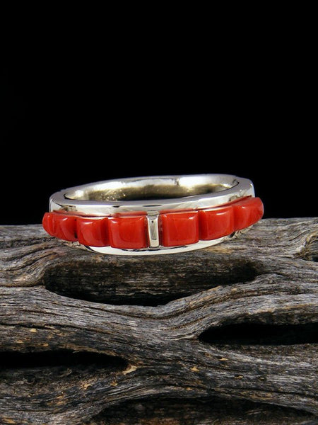 Coral Cobblestone Inlay Ring, Multiple Sizes