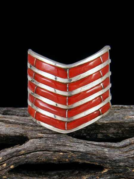 Coral Zuni Inlay Ring, Multiple Sizes