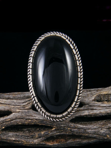 Native American Jewelry Onyx Ring, Size 8 3/4