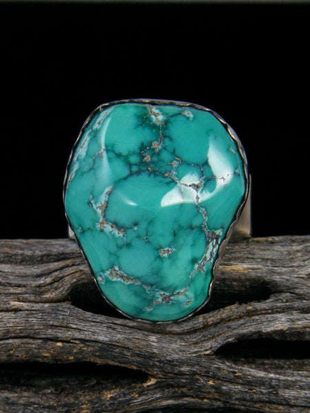 Adjustable Cloud Mountain Turquoise Ring, Size 8 1/2+