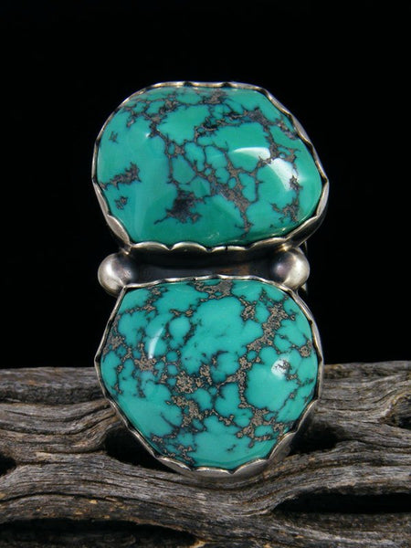 Adjustable Cloud Mountain Turquoise Ring, Size 7+