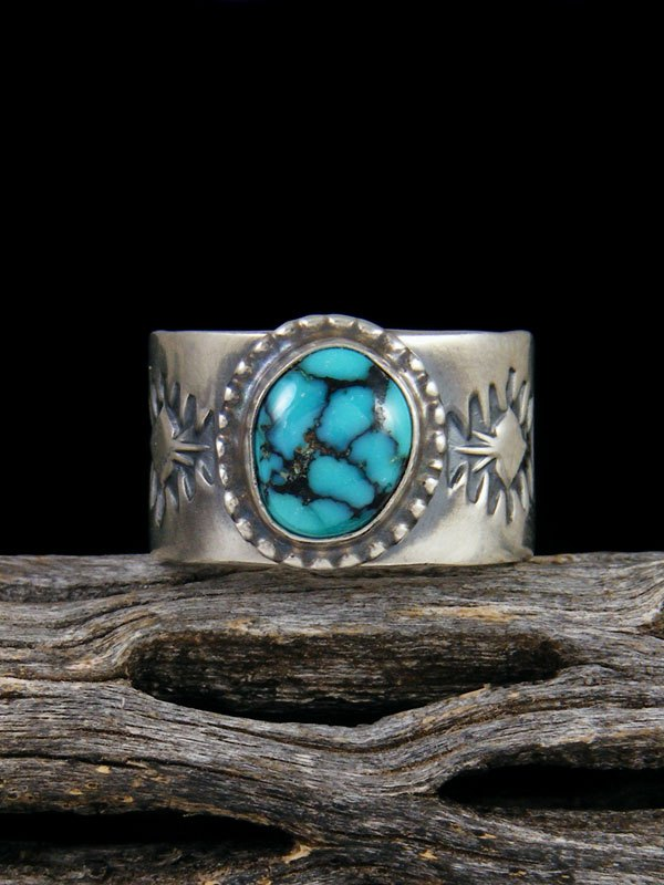 Cloud Mountain Turquoise Sterling Silver Ring, Size 8