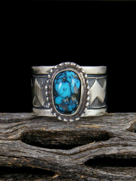 Kingman Turquoise Sterling Silver Ring, Size 7