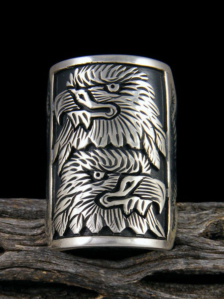 Sterling Silver Eagle Overlay Ring, Size 10