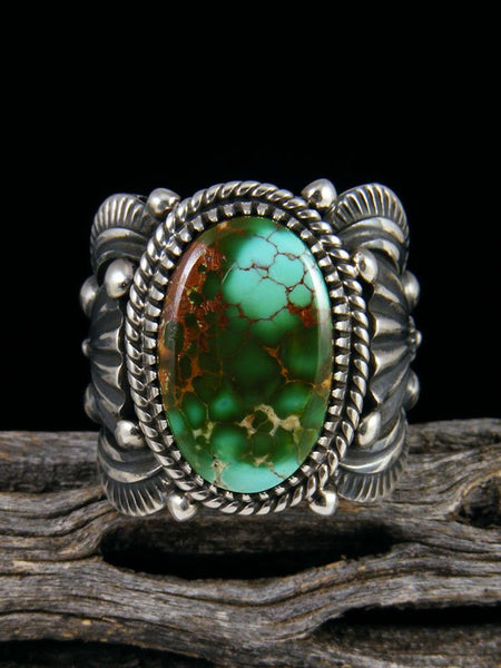 Navajo Natural Royston Turquoise Sterling Silver Ring Size 10