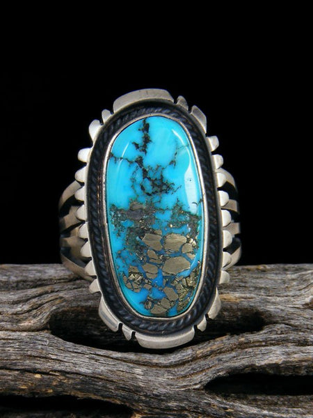 Kingman Turquoise Adjustable Ring, Size 7+