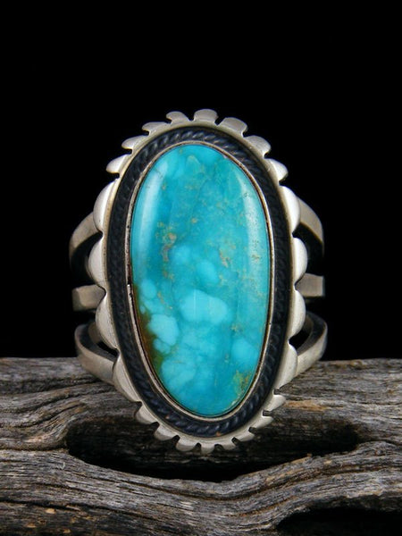 Kingman Turquoise Adjustable Ring, Size 8+