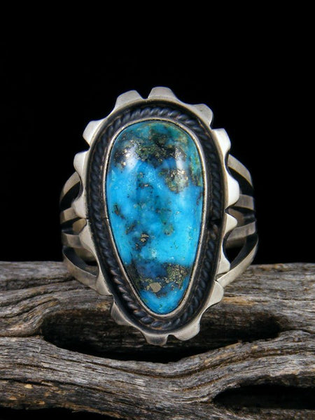 Kingman Turquoise Adjustable Ring, Size 6+