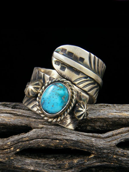 Kingman Turquoise Adjustable Feather Ring, Size 10