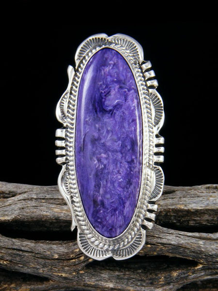 Native American Charoite Ring, Size 6 1/2