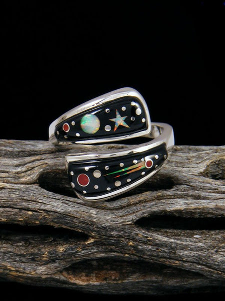 Adjustable Night Sky Inlay Ring