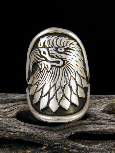 Navajo Eagle Overlay Ring, Size 7