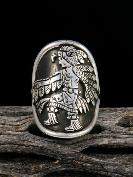Navajo Eagle Dancer Overlay Ring Size 8