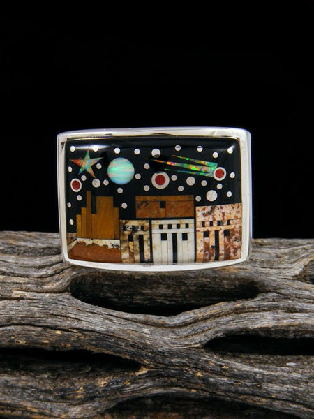 Night Sky Pueblo Scene Inlay Ring Size 9 1/2