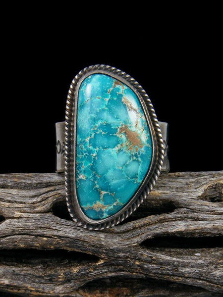Adjustable Kingman Turquoise Ring, Size 9+