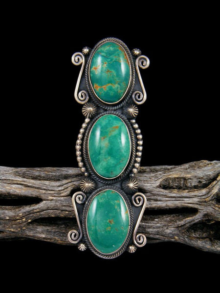Native American Turquoise Three Stone Ring, Size 6