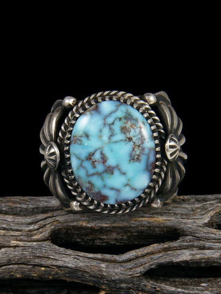 Navajo Natural Dry Creek Turquoise Sterling Silver Ring Size 9 1/2