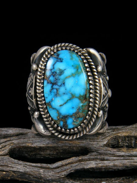 Natural Kingman Turquoise Sterling Silver Ring Size 8 1/2