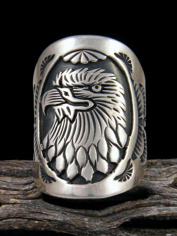 Navajo Eagle Overlay Ring, Size 10 1/2