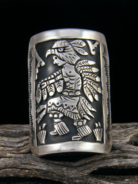 Navajo Eagle Dancer Overlay Ring, Size 10