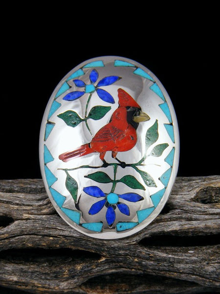Sterling Silver Zuni Inlay Red Cardinal Ring, Size 8