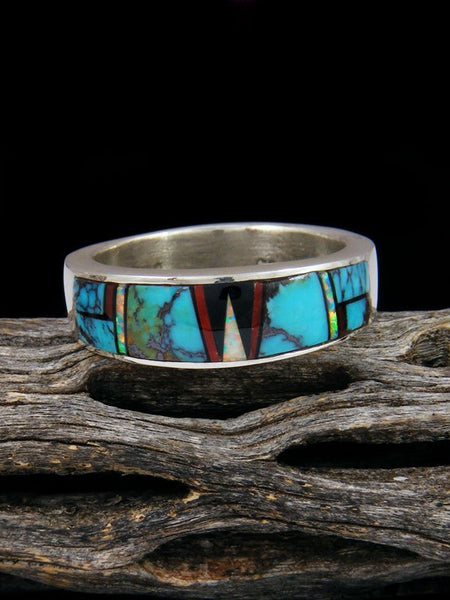 Turquoise and Coral Inlay Ring, Size 12 1/2