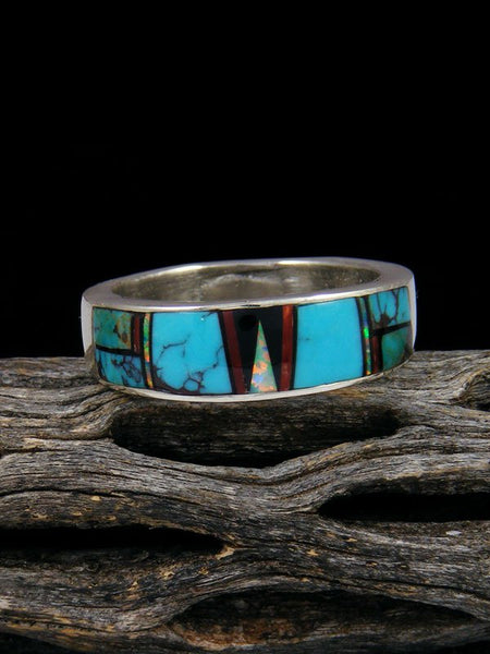 Turquoise and Coral Inlay Ring, Size 12