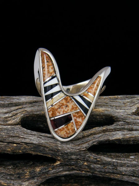 Jasper and Onyx Inlay Ring, Size 5 1/2