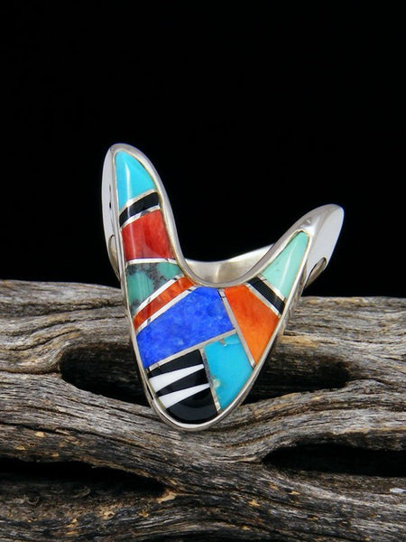 Multi Stone Turquoise Inlay Ring, Size 6